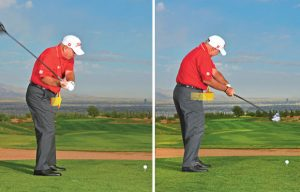 right and wrong start of downswing